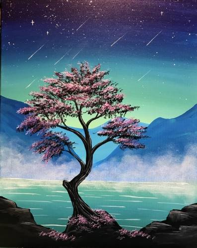 A Misty Mountain Midnight paint nite project by Yaymaker