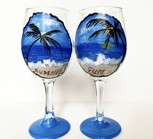 A Summer Fun Wine Glasses paint nite project by Yaymaker