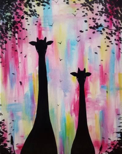 A Giraffe Friends paint nite project by Yaymaker