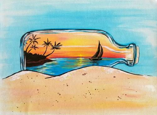 A Sunset in a Bottle paint nite project by Yaymaker