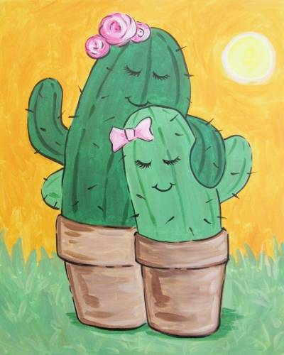 A Mother and Daughter Cactus paint nite project by Yaymaker