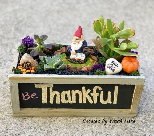 A Gnome Fall Garden in Chalkboard plant nite project by Yaymaker