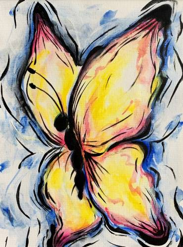 A Yellow Spring Butterfly paint nite project by Yaymaker