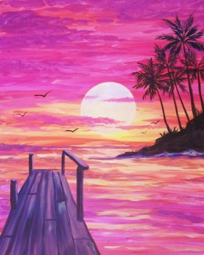 A Tropical Sunset Dock paint nite project by Yaymaker