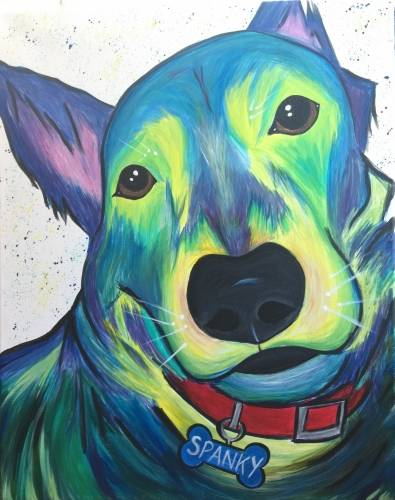 A Psychedelic Color Paint My Pet with Custom Name Tag paint nite project by Yaymaker