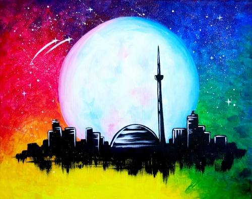 A Super Moon Toronto paint nite project by Yaymaker