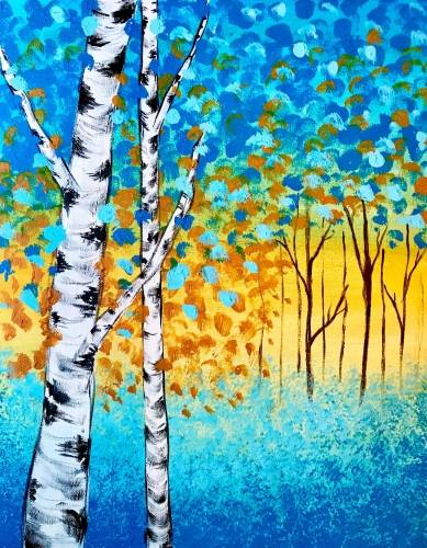 A Birch Meadow Sunset paint nite project by Yaymaker