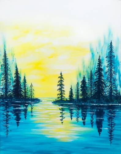 A Forest Lake Sunset paint nite project by Yaymaker