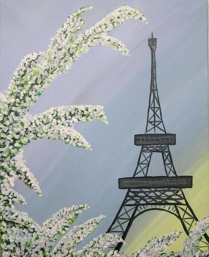 A Morning Snow in Paris paint nite project by Yaymaker