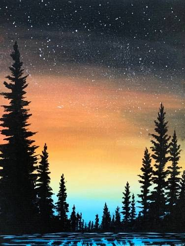 A Sunset Pine Silhouette paint nite project by Yaymaker