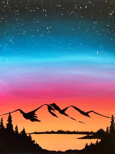 A Starry mountain silhouette paint nite project by Yaymaker