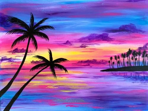 A Tropical Island Silhouette paint nite project by Yaymaker