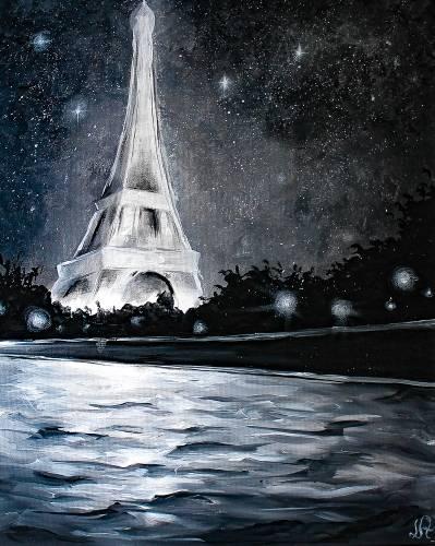 A Glowing Paris en Noir paint nite project by Yaymaker