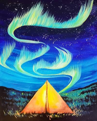 A Camping with Aurora paint nite project by Yaymaker