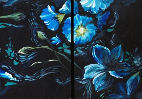 A Partner Painting Drifting Zen Blue Flowers paint nite project by Yaymaker