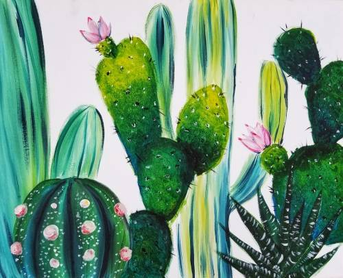 A Summer Cacti paint nite project by Yaymaker