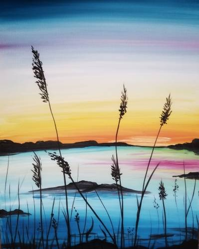 A Summer Sunset on the Lake paint nite project by Yaymaker