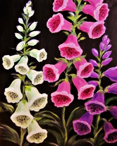 A Fanciful Foxgloves paint nite project by Yaymaker