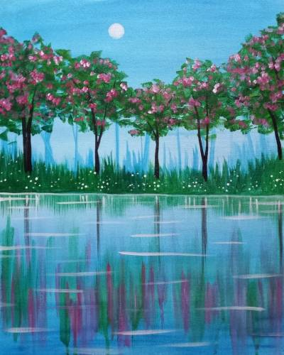 A Lakeside Blossoms paint nite project by Yaymaker