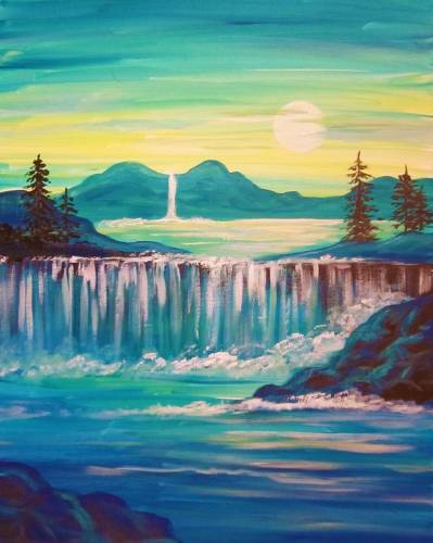 A Turquoise Dream Waterfalls paint nite project by Yaymaker