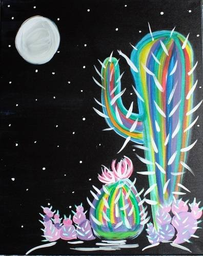 A Rainbow Cactus paint nite project by Yaymaker