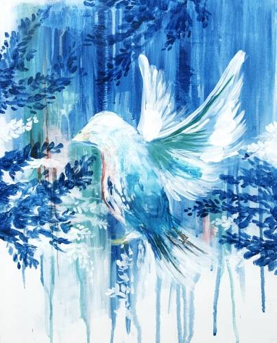 A Blue Watercolour Dove paint nite project by Yaymaker