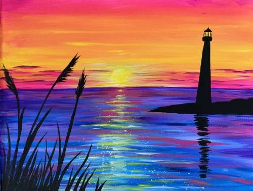 A Sunset Lighthouse Silhouette paint nite project by Yaymaker