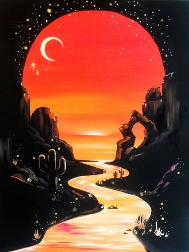 A Enchanted Desert Moon Vignette paint nite project by Yaymaker