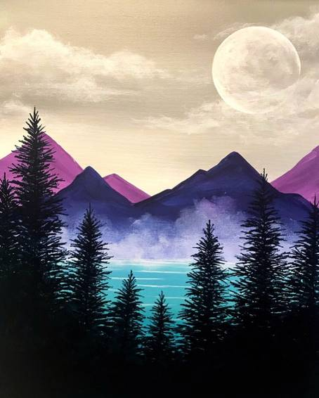 A Misty Mountain Woodlands paint nite project by Yaymaker