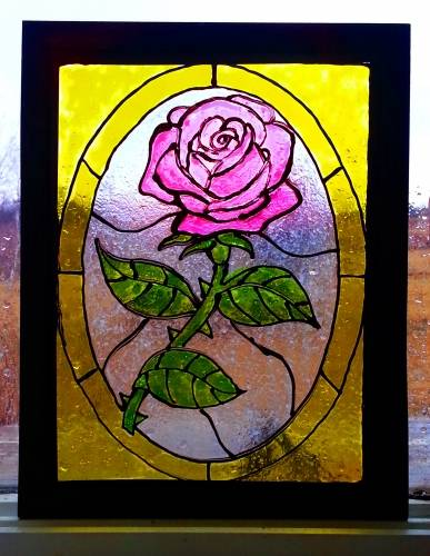 A Faux StainedGlass Painting with Frame  Customize Your Own Rose paint nite project by Yaymaker