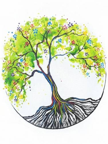 A Rainbow Tree of Life II paint nite project by Yaymaker