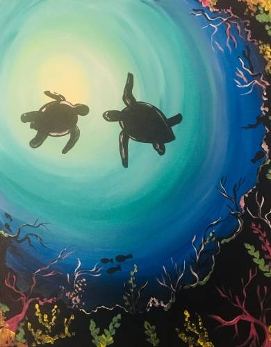 A Sea Turtles paint nite project by Yaymaker
