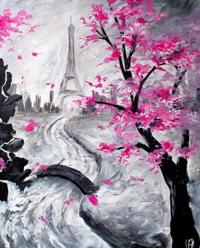 A Pink In Paris paint nite project by Yaymaker