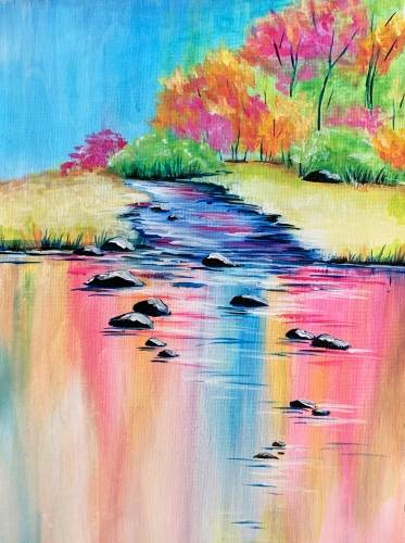A Colorful Lake Reflections paint nite project by Yaymaker