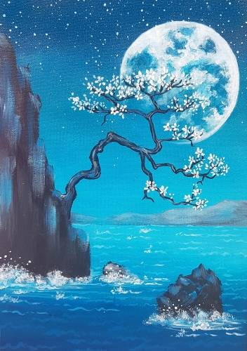 A Moonlit Bonsai Seashore paint nite project by Yaymaker