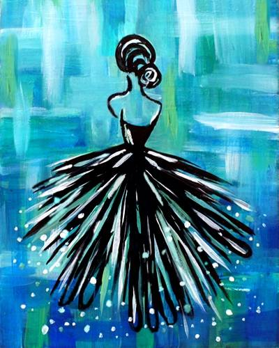 A Lady en Teal paint nite project by Yaymaker