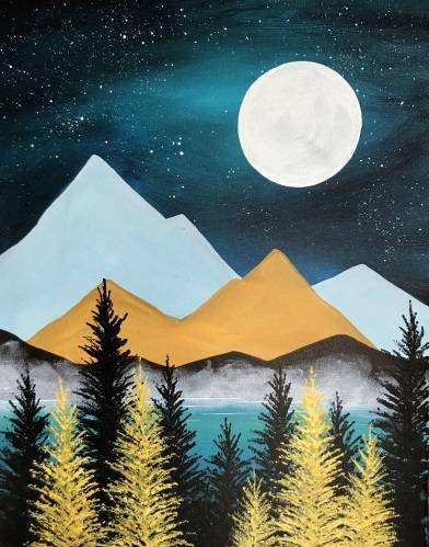 A Golden Forest Nightfall paint nite project by Yaymaker
