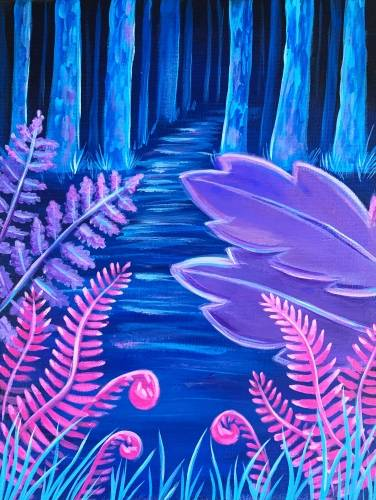 A Neon Fern Forest paint nite project by Yaymaker