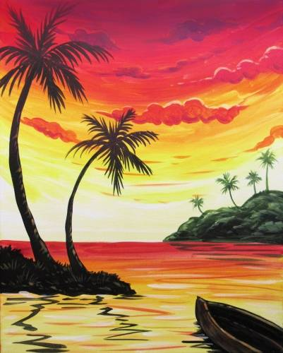 A Sunset Getaway paint nite project by Yaymaker