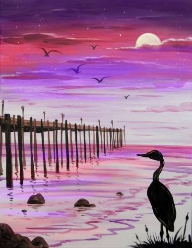 A Pink Sunset at the Pier paint nite project by Yaymaker