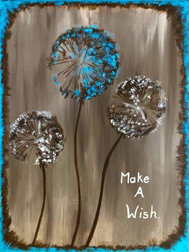 A Make a Wish Dandelions paint nite project by Yaymaker