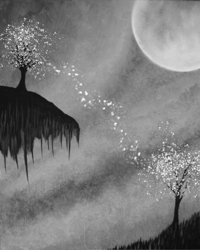A Splatter Trees at Night paint nite project by Yaymaker