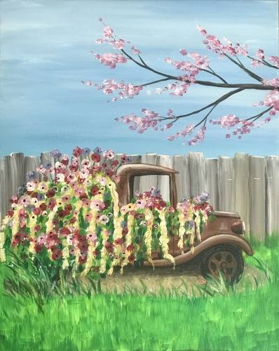 A Rusted Rig Flower Garden paint nite project by Yaymaker