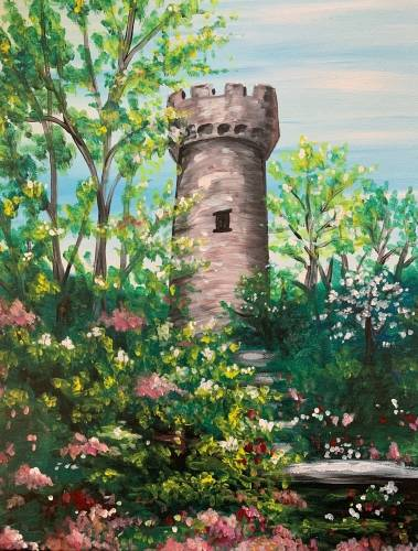 A Tower in the Trees paint nite project by Yaymaker