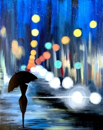 A Night Walk in the City paint nite project by Yaymaker