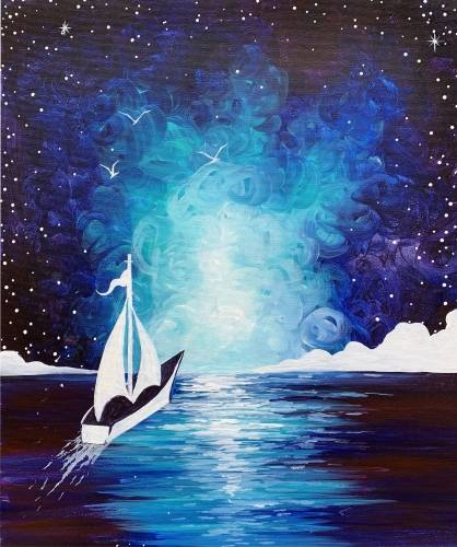 A Sail Into A Dream paint nite project by Yaymaker