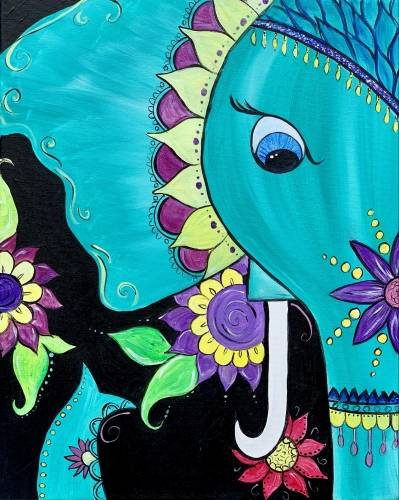 A Floral Boho Elephant paint nite project by Yaymaker