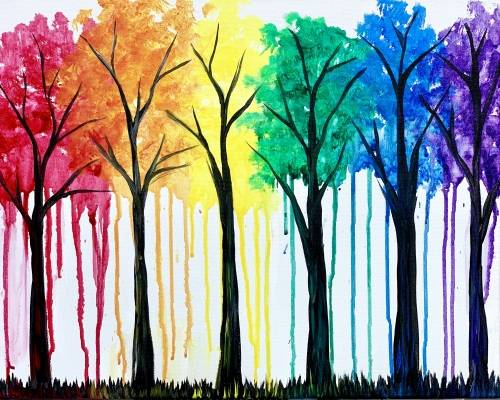 A Bright rainbow forest paint nite project by Yaymaker