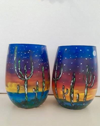 A Cactus Sunset Stemless Wine Glasses paint nite project by Yaymaker