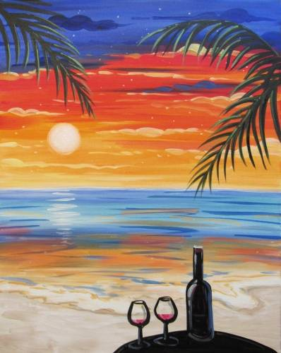 A Wining at the Beach paint nite project by Yaymaker